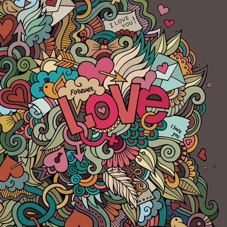 Love hand lettering and doodles elements background Vector
