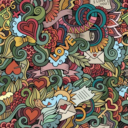 Doodles vector de amor sin fisuras patrón