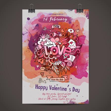 enamorados caricatura: Dise�o vectorial garabatos amor poster acuarela Vectores