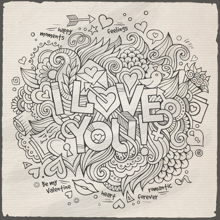 I Love You hand lettering and doodles elements Vector illustration Vector