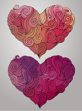 te amo: Dibujado a mano gr�ficos decorativo rizado vector del coraz�n Vectores