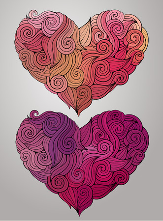 i love you symbol: Hand drawn decorative curled graphics vector heart Illustration