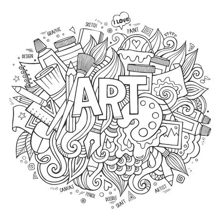 graphic artist: Art hand lettering and doodles elements. Vector illustration