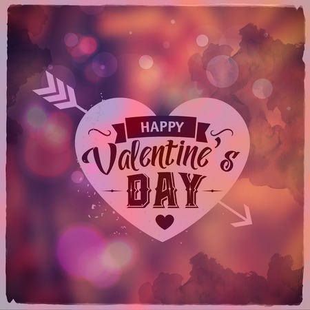 Frohen Valentinstag. Creative Grafik Nachricht Für Sie Design.vector  Unscharfen Hintergrund
