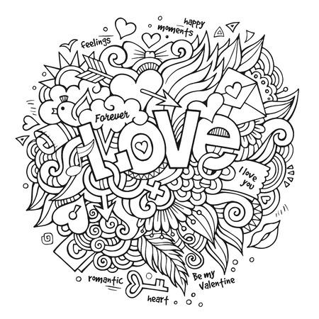 Love hand lettering and doodles elements. Vector illustration Çizim