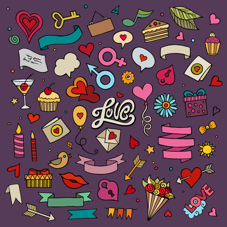 love kiss: Set of love doodle icons vector illustration
