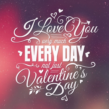 Valentines Day Hand Lettering abstract blurred Background