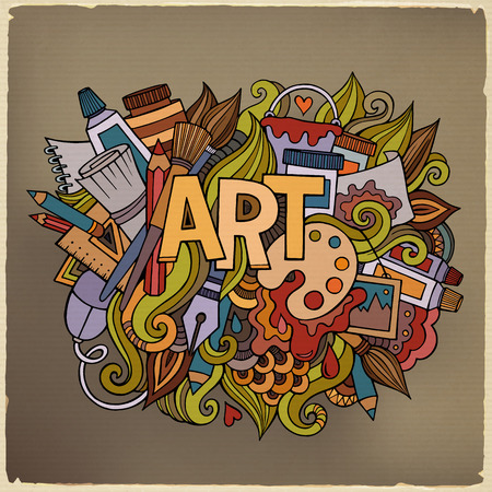 love picture: Art hand lettering and doodles elements. Vector illustration