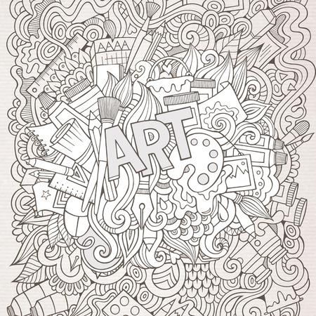 Art hand lettering and doodles elements background. Vector illustration Vector