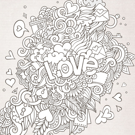 Love hand lettering and doodles elements background. Vector illustration Vector