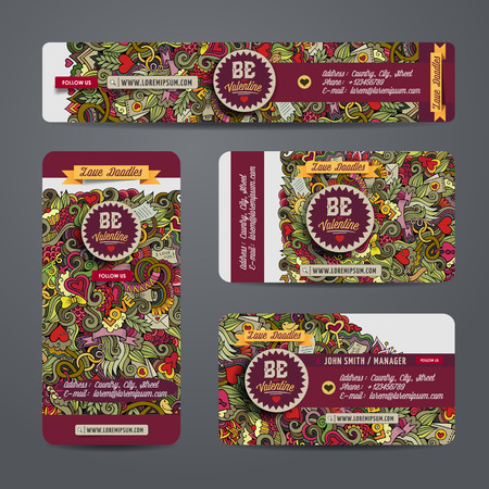 the information card: Corporate Identity vector templates set with doodles love theme
