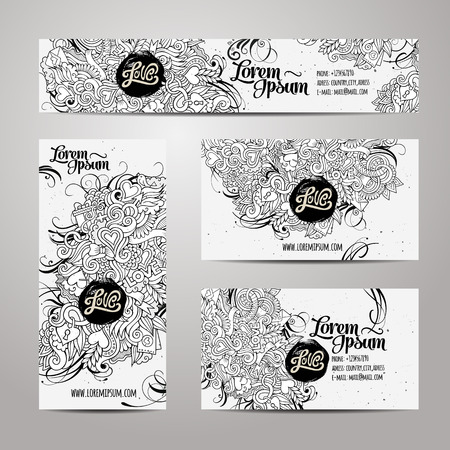 business card in hand: Corporate Identity vector templates set with doodles love theme
