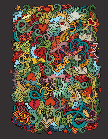 Doodles abstract decorative Love vector hand drawn background Çizim