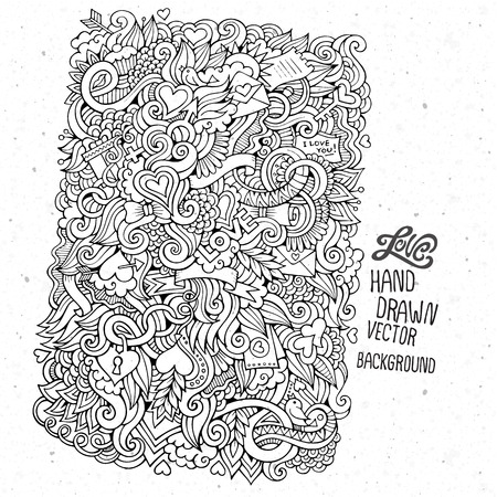 i love you sign: Doodles abstract decorative Love vector hand drawn background Illustration