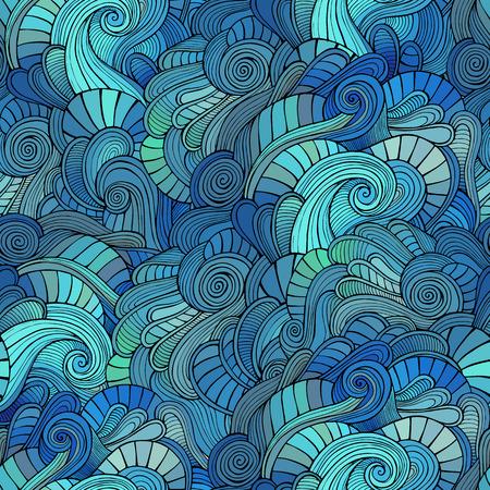 batik: Vector abstract vagues griffonnages d�coratifs seamless pattern Illustration
