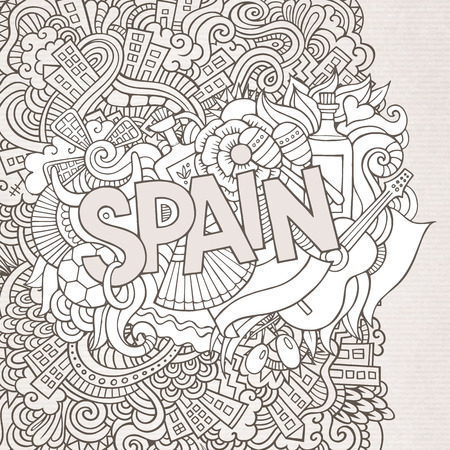 Spain abstract hand lettering and doodles elements background