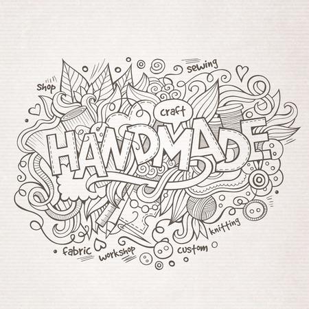 needle cushion: Handmade hand lettering and doodles elements background. Vector illustration Illustration