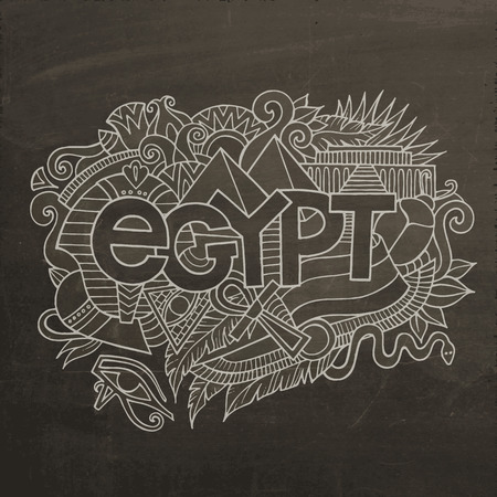 an amulet: Egypt hand lettering and doodles elements background. Vector chalkboard illustration Illustration