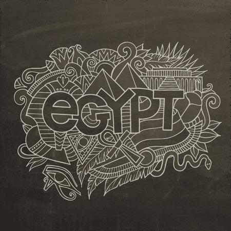 egypt flag: Mano letras Egipto y garabatos elementos de fondo. Vector ilustraci�n pizarra Vectores