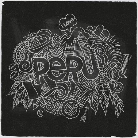 Peru hand lettering and doodles elements chalkboard background. Vector illustration