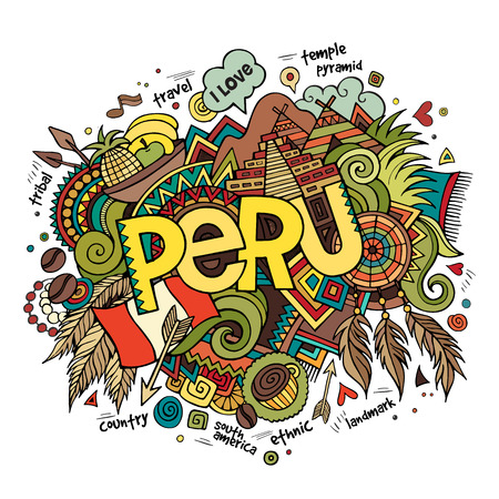 Peru hand lettering and doodles elements background. Vector illustration Çizim