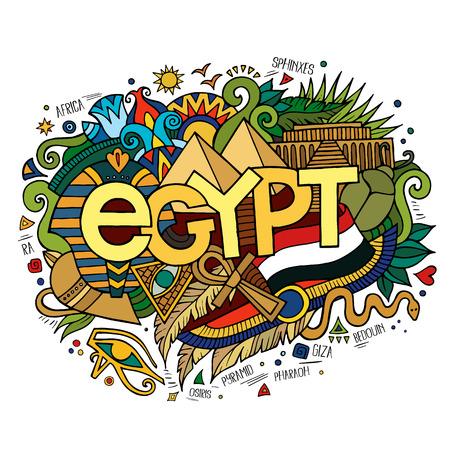 bandera de egipto: Mano letras Egipto y garabatos elementos de fondo. Ilustración vectorial Vectores