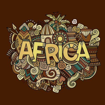 Africa hand lettering and doodles elements background. Vector illustration Vector