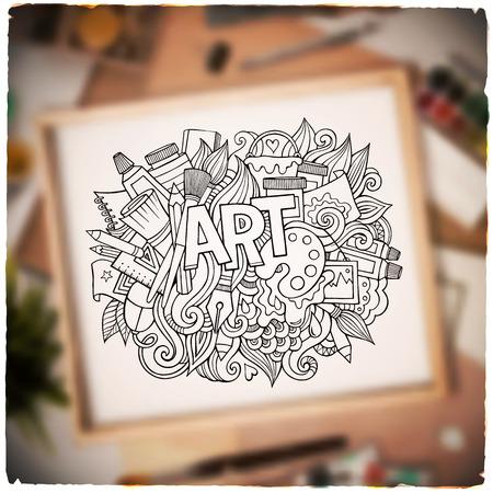 art palette: Art hand lettering and doodles elements. Vector blurried illustration Illustration