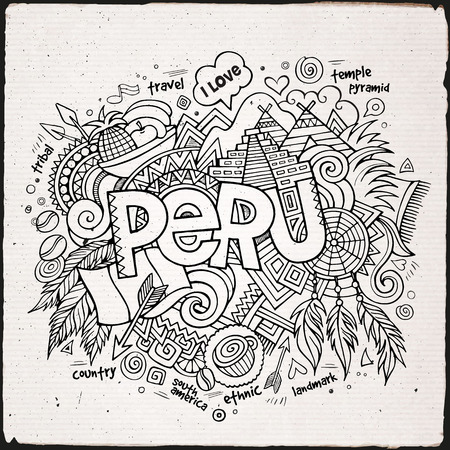 picchu: Peru hand lettering and doodles elements background. Vector illustration Illustration