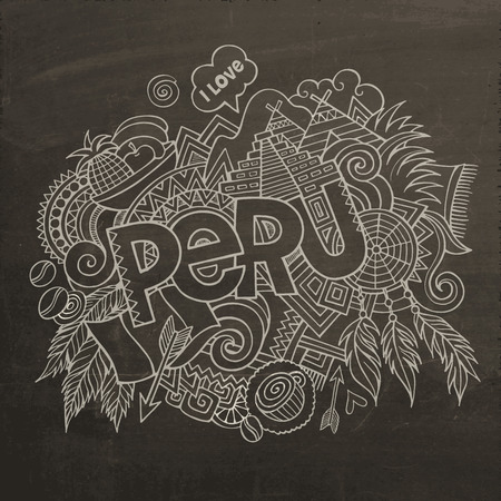 picchu: Peru hand lettering and doodles elements chalkboard background. Vector illustration