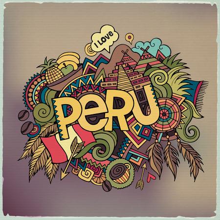 picchu: Peru hand lettering and doodles elements background. Vector illustration Illustration