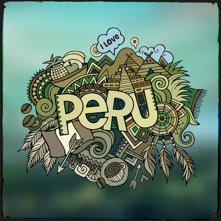 latin americans: Peru hand lettering and doodles elements background. Vector illustration Illustration