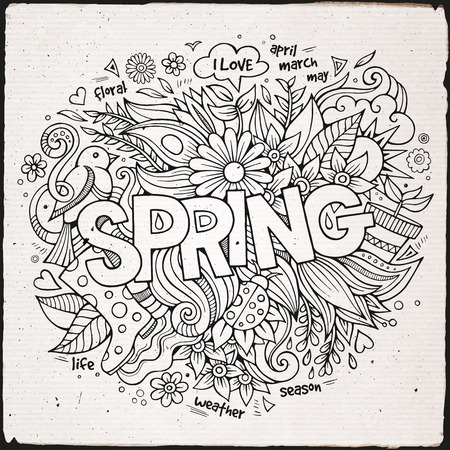 Spring hand lettering and doodles elements. Vector illustration Vector