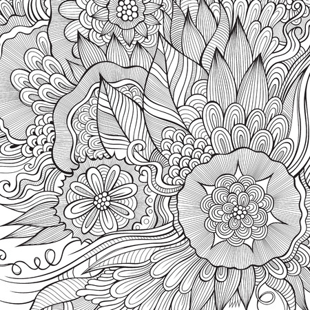Vector nature fantasy decorative abstract flowers background.