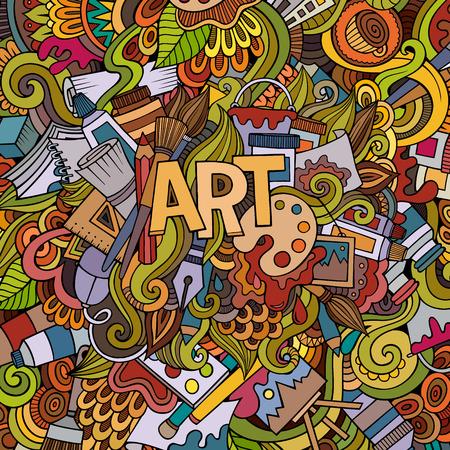 pallette: Cartoon doodles vecteur dessinés à la main et de l'artisanat de fond
