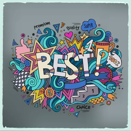 Great: Best hand lettering and doodles elements background. Vector illustration Illustration