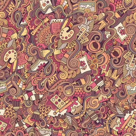 Cartoon vector doodles hand getekende kunst en ambacht naadloos patroon Stockfoto - 37618156