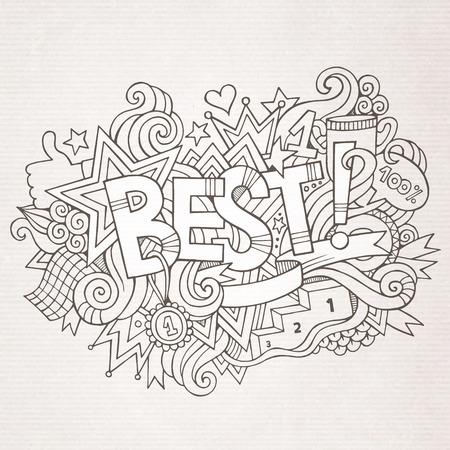 best hand: Best hand lettering and doodles elements background. Vector illustration Illustration