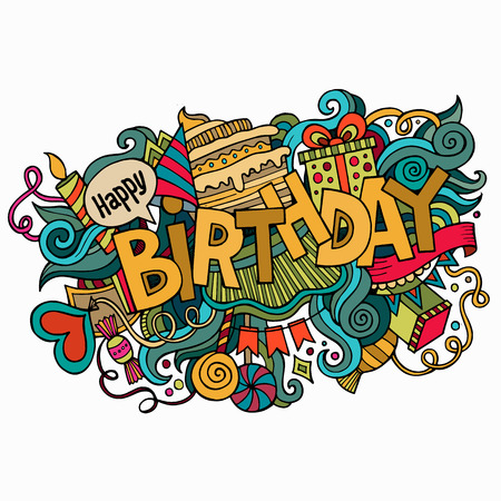 Birthday hand lettering and doodles elements background. Vector illustration