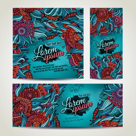 Vector decorative floral background. Template design for card. Series of image.
