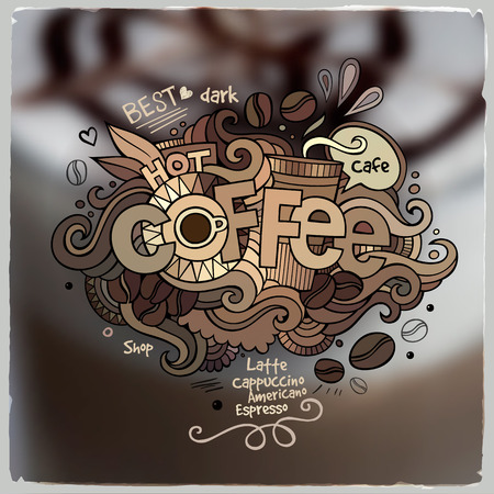 Coffee hand lettering and doodles elements on blurred background