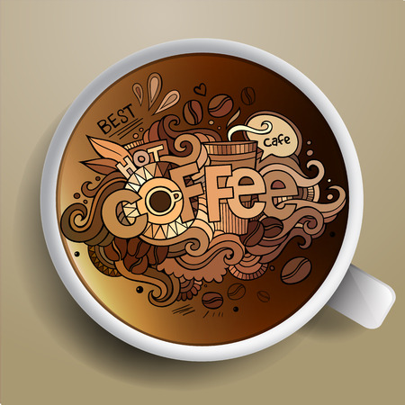 Coffee doodles elements background with cup of coffee Vettoriali