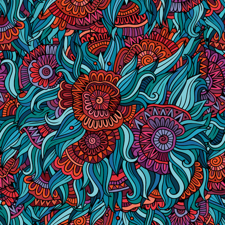 endless: Vector seamless abstract flowers pattern. Endless background.