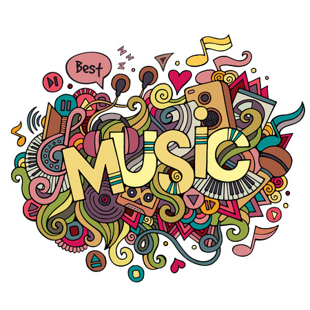hand beats: Music hand lettering and doodles elements background. Vector illustration