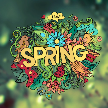 Spring hand lettering and doodles elements. Vector blurred background Vector