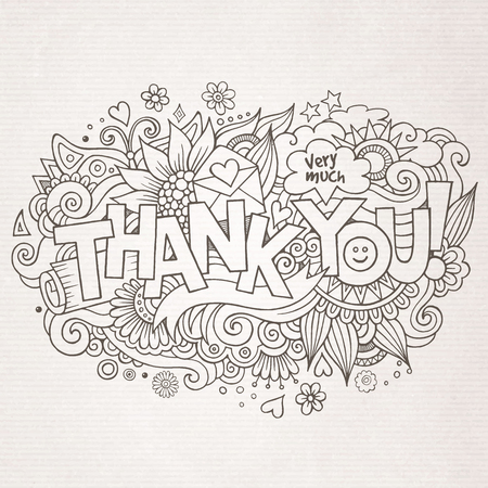 thank: Thank You hand lettering and doodles elements background. Vector illustration