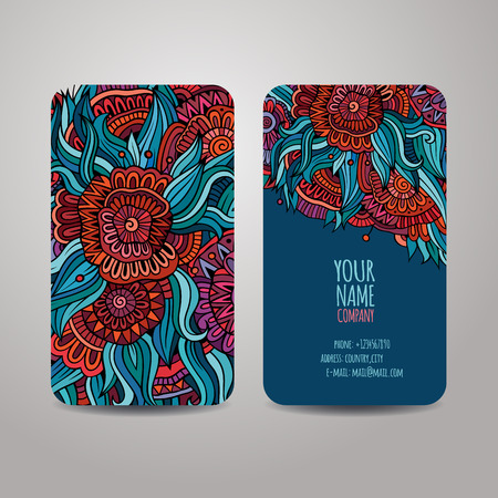Vector banners template set with doodles floral theme