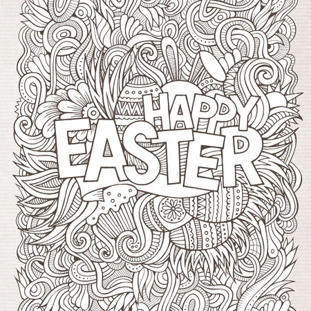 Easter hand lettering and doodles elements. Vector illustration Vector