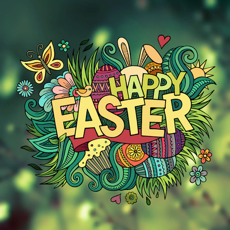cartoon easter: Easter hand lettering and doodles elements. Vector blurred illustration