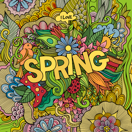 Spring hand lettering and doodles elements vector illustration Vector